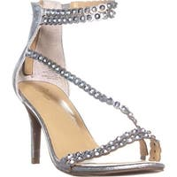 TS35 Darrla Wrap Ankle Strap Sandals, Pewter Metallic