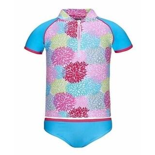 Sun Emporium Little Girls Blue Carnival Front Zip Rash Shirt Bikini Set