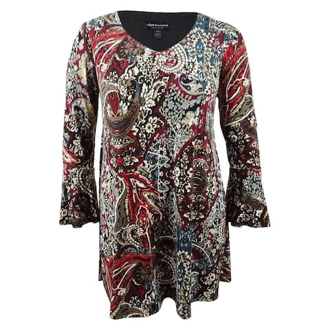 Connected Women's Plus Size Printed Bell-Sleeve A-Line Dress - Wine