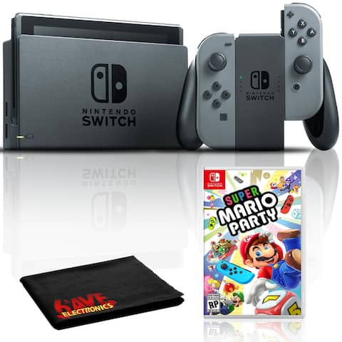 Nintendo Switch with Gray JoyCons Bundle with Super Mario Party + 6Ave - Black