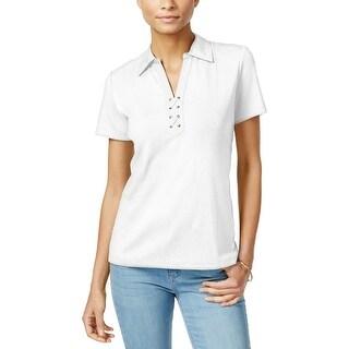 Karen Scott Womens Polo Top Lace-Up Short Sleeves