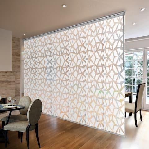 "InStyleDesign Geometric White 3 to 6 Panel Single Rail Panel Track, Panel width 23.5"""