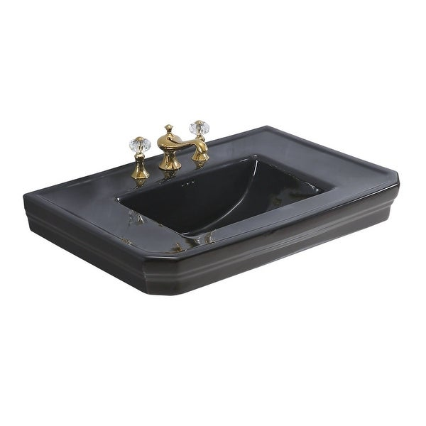 Black Vitreous China Bathroom Pedestal Sink Only |Renovators Supply