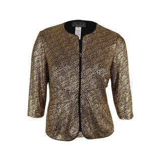 Alex Evenings Women's 2PC Metallic Zip Jacket Twinset - Black/gold