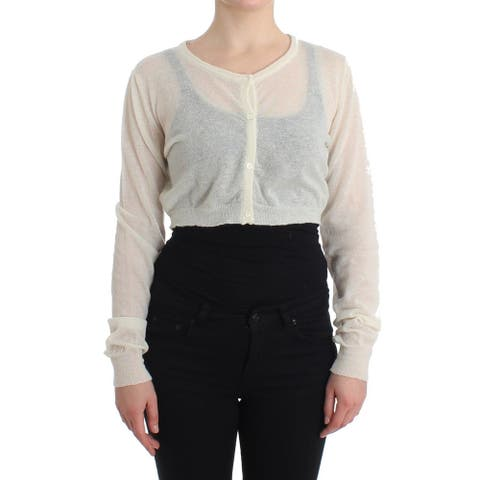 Ermanno Scervino Lingerie Knit Cropped Wool Sweater Women's Cardigan