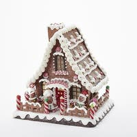 """10"""" LED Lighted Gingerbread Candy House Decorative Tabletop Piece - brown"""