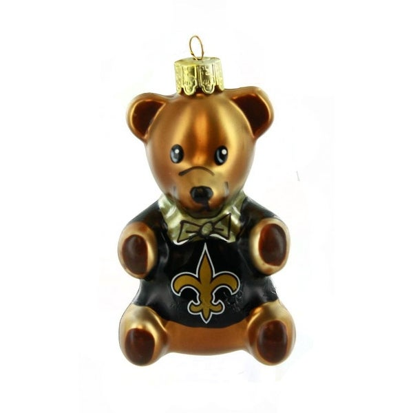 "New Orleans Saints 3.5"" Blown Glass Teddy Bear Ornament"