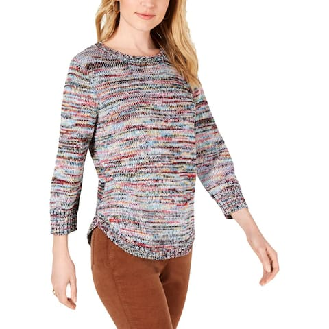 NY Collection Womens Petites Pullover Top Space Dye Crew Neck