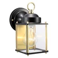 """Design House 502658 Coach 1-Light 5"""" Wide Outdoor Wall Sconce - black and polished brass - n/a"""