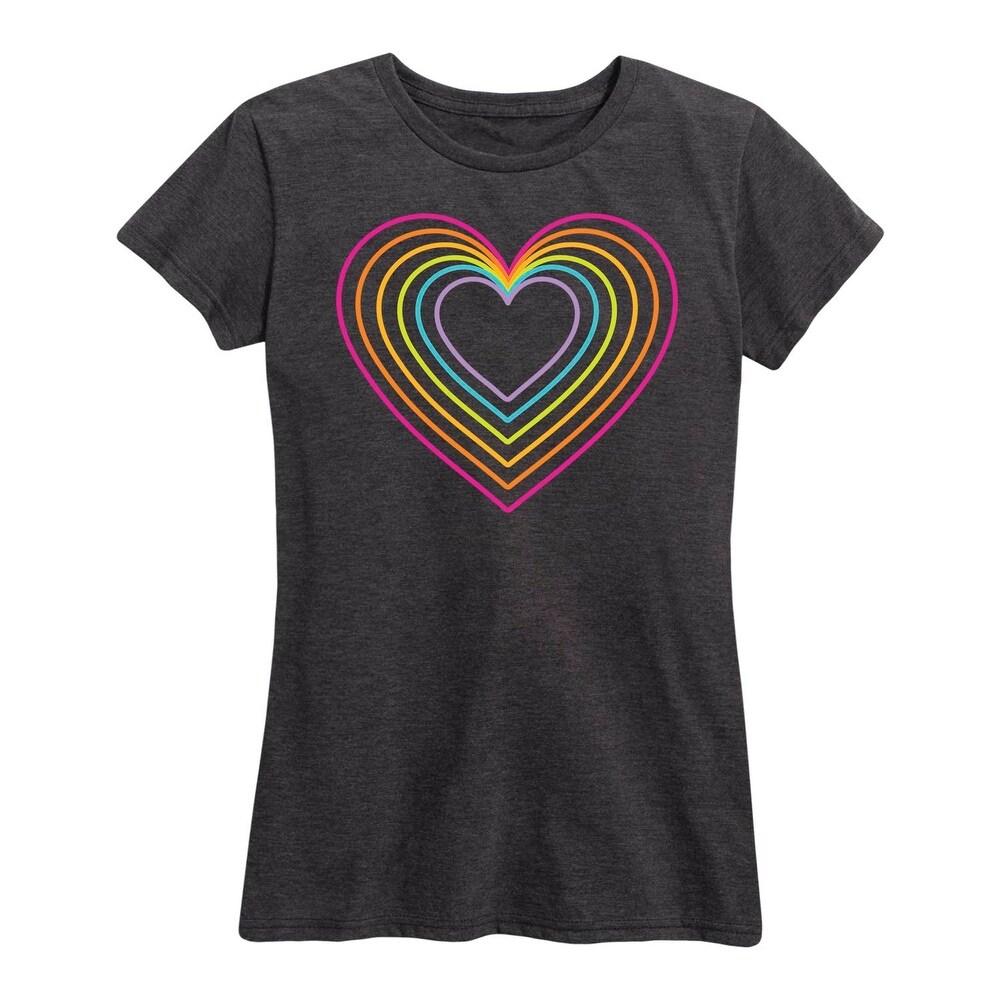 Rainbow Neon Heart - Womens Short Sleeve Graphic T-Shirt