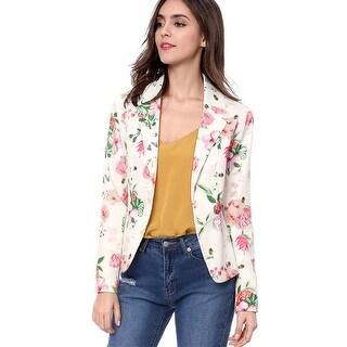 Allegra K Women Allover Floral Print Notched Lapel Open Front Blazer