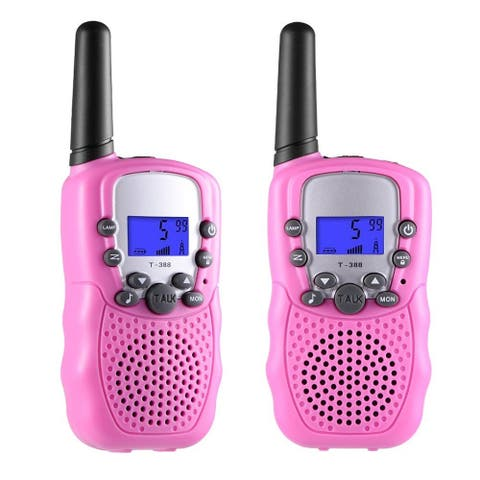 2 Pack Up to 5 Miles Walkie Talkies for Kids 22 Channels FRS/GMRS Pink