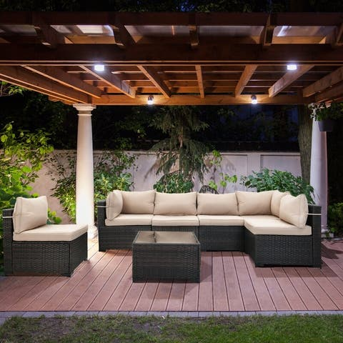 Cushioned 7 Piece Patio Wicker Conversation Sectional Group Furniture