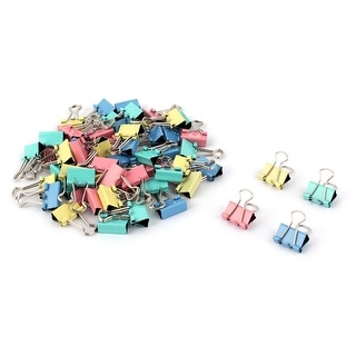 Office Metal Bill Ticket File Paper Mini Binder Clips Clamps 60pcs - Silver Tone, Pink, Blue, Green,Yellow