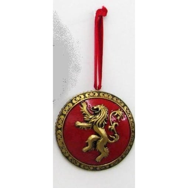 "3"" Gold and Red Game of Thrones Metallic Shield Christmas Ornament"