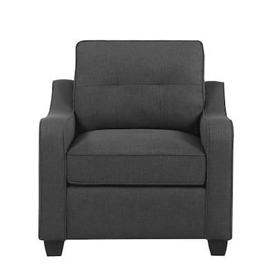Henry Dark Grey Tufted Arm Chair