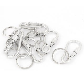 Unique Bargains 8pcs Silver Tone Metal Screw Locking Carabiner Clip Spring Hook Key Ring Chain
