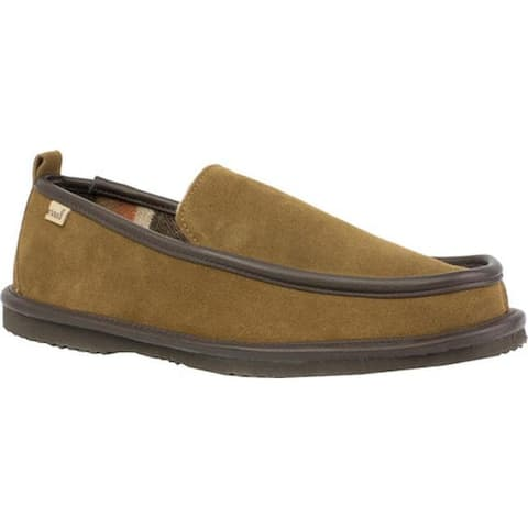 L.B. Evans Men's Vernan Moc Toe Slipper Chestnut Suede