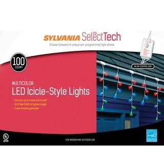 Sylvania V42016-71 LED Icicle Light Set, 100 Lights, Multicolor