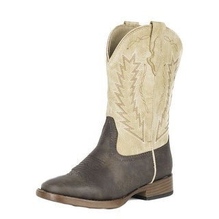 Roper Western Boots Boys Billy Square Toe Brown