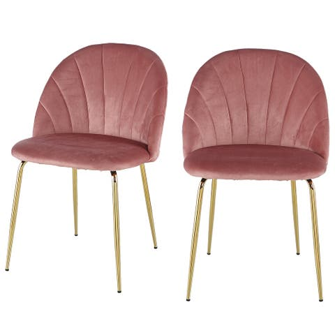 Moda Modern Pink Dining Chair(Set of 2) with Iron Tube Golden Legs