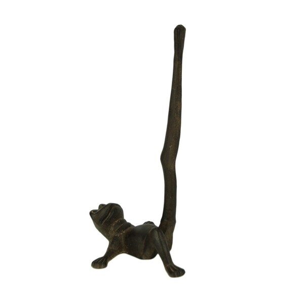 Rustic Brown Cast Iron Stretching Cat Paper Towel Holder UD