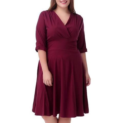 Nemidor Womens Shift Dress Wine Red Size 20 Plus Surplice 3/4 Sleeve