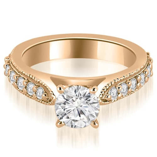 1.45 cttw. 14K Rose Gold Cathedral Round Cut Eternity Diamond Engagement Ring