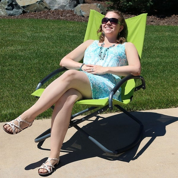 Sunnydaze Folding Portable OutdoorLawn and Patio Rocking Lounge Chair - Green - 1