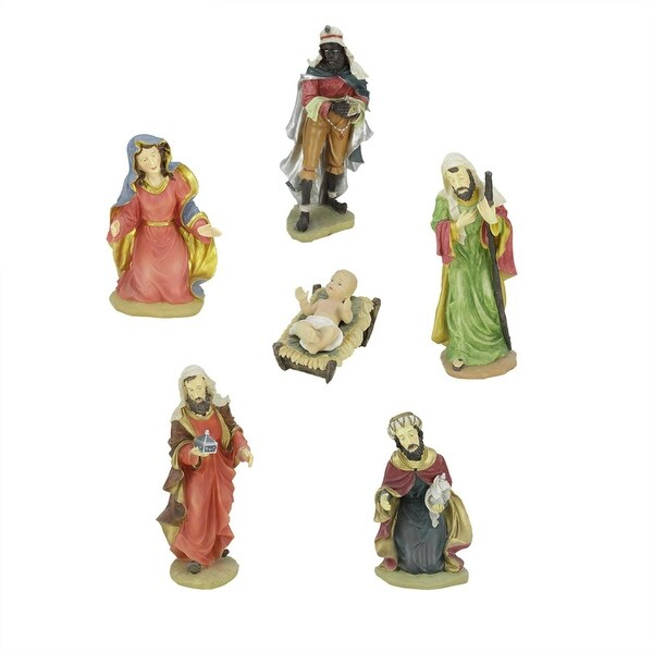 6-Piece Large Scale Holy Family and Three Kings Religious Christmas Nativity Statues 19""