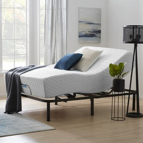 Lucid Comfort Collection 12-inch Gel Memory Foam Mattress and Standard Adjustable Bed Set