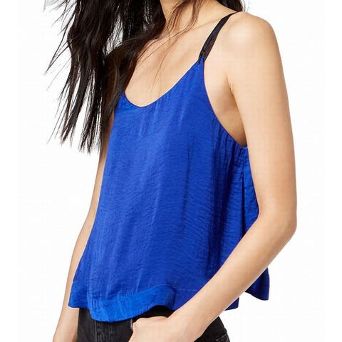 Free People Blue Womens Size Large L Move Lightly Double-Strap Cami