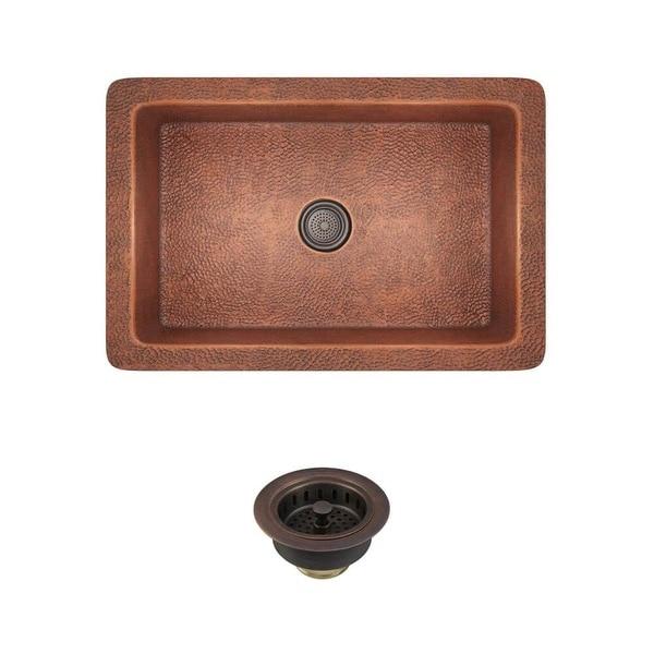 """Rene by Elkay R4-1003-ST Rene 33"""" Copper Undermount Kitchen Sink with Basket Strainer"""