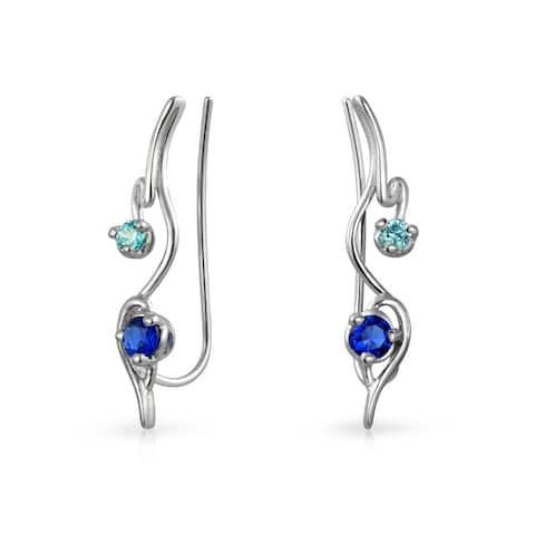 Swirl Wire Ear Pin Climbers Aqua Blue Cubic Zirconia Earrings For Women Imitation Sapphire CZ Crawlers Sterling Silver