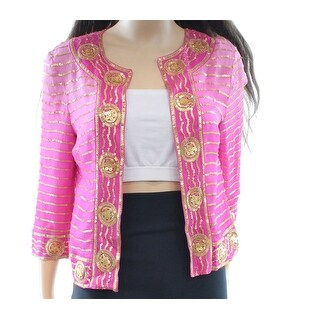 Trina Turk NEW Pink Women's Size 2 Silk Embellished Open Front Jacket