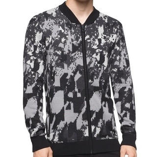 Calvin Klein NEW Black Mens Large L Abstract Print Full Zip Sweater