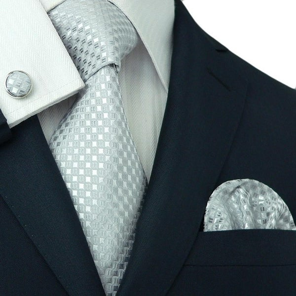 Men's Silver White Grid 100% Silk Necktie Set TheDapperTie 16E