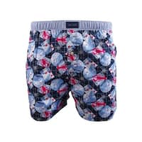 Tommy Hilfiger Men's Printed Woven Boxers (Riviera Blue, S) - riviera blue - S