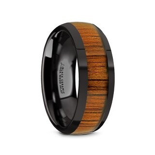 LINDEN Domed Style Black Ceramic Wedding Ring with Koa Wood Inlay and Polished Beveled Edges Comfort Fit Lightweight Dur