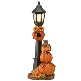 """14"""" Pumpkin Scarecrow and Lamppost"""