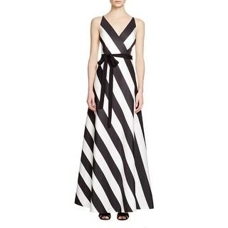 Phoebe Womens Formal Dress Striped V-Neck