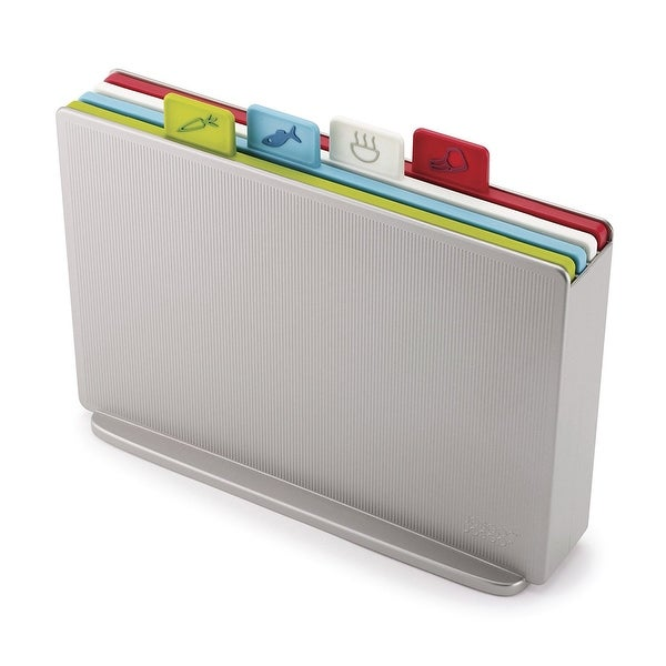 Joseph 60131 Index Plastic Cutting Board Set With Storage Case Color Coded Dishwasher