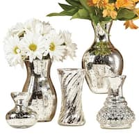 """Art & Artifact 5 Piece Mercury Glass Flower Vase Set - Silver Finish - Different Shapes and Sizes 4"""" Bud Vase to 8"""" Tall - 8 in."""