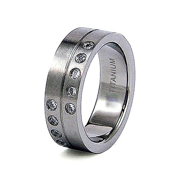 8mm Titanium Ring with CZ (Sizes 8-12)