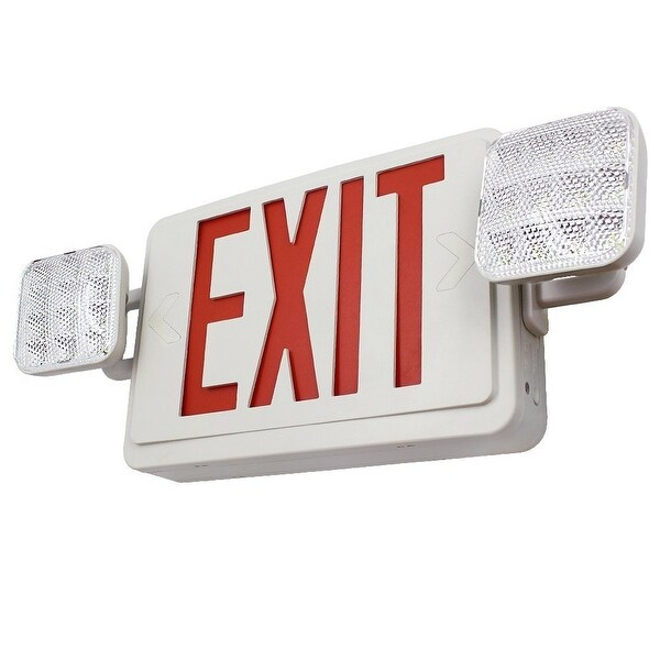Ul Listed Dual Face Led Emergency Exit Sign With 2 Head Lights