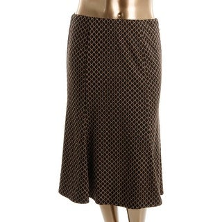 NY Collection Womens Printed Mid-Calf A-Line Skirt - L