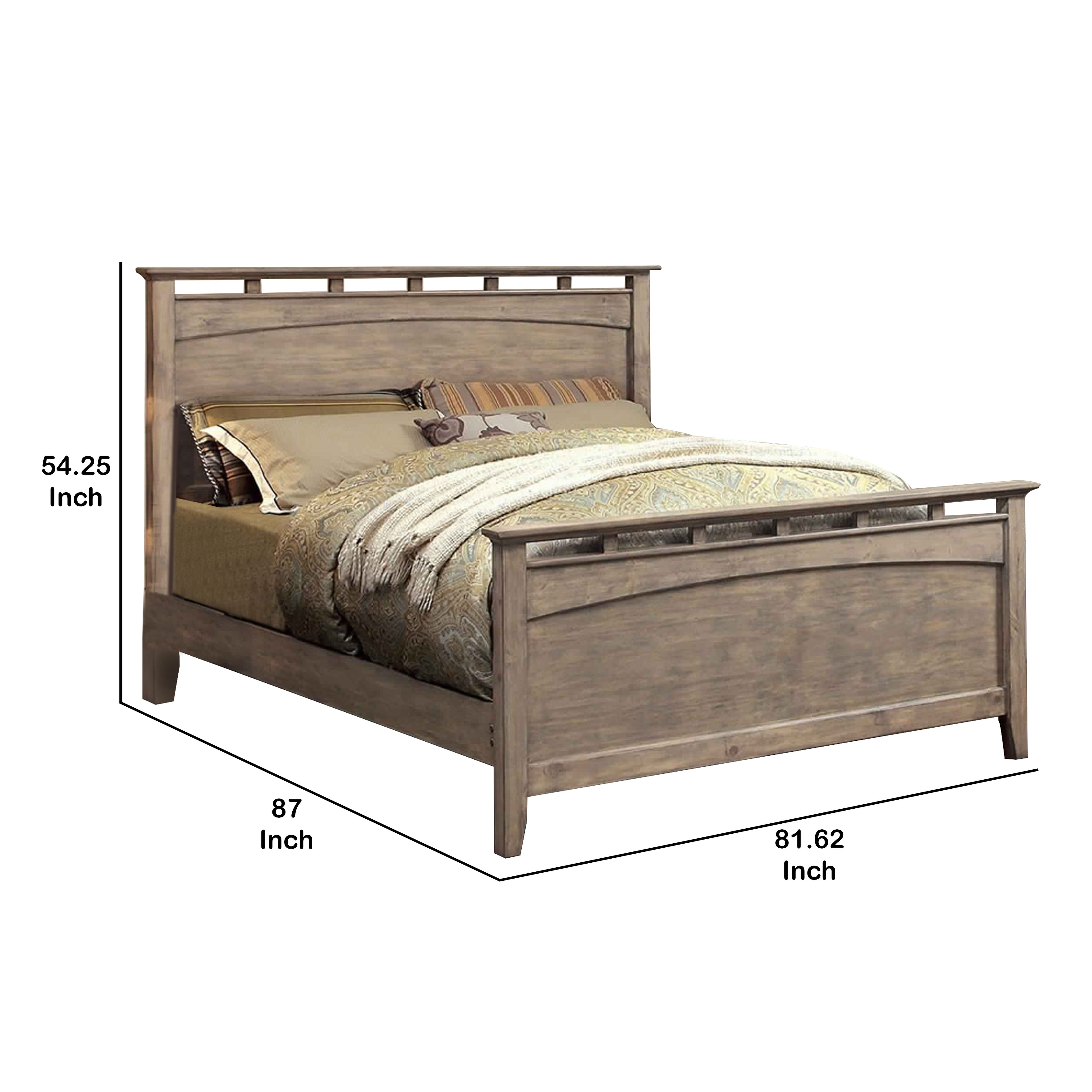 Eastern King Size Wooden Bed With Rectangular Headboard And Footboard Gray On Sale Overstock 31304725