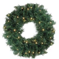 "24"" Pre-Lit Green Cedar Pine Artificial Christmas Wreath - Clear Lights"