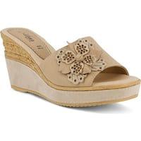 Azura Women's Montanara Slide Wedge Sandal Beige Leather