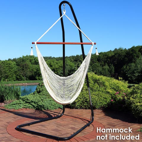 Sunnydaze Adjustable Heavy-Duty Hammock Chair Stand - Steel - Up to 93-Inches - Black Onyx